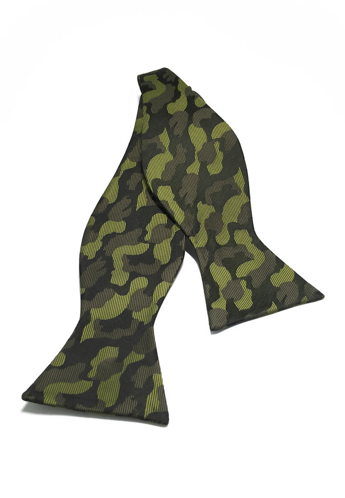 Manual Series Green Army Camouflage Design Self-tied Man Made Silk Bow Tie