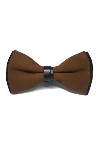 Sassy Series Brown Cotton Pre-tied Bow Tie