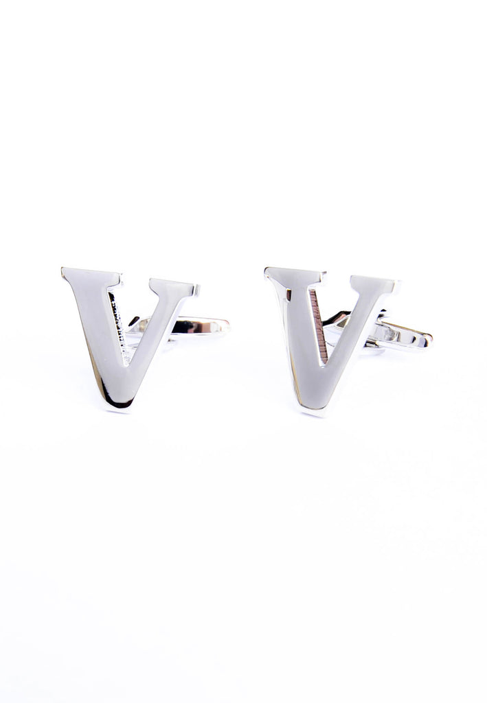 Monogram Alphabet Rhodium Plated Cufflinks - V