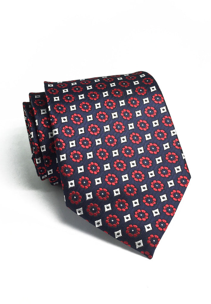Pompon Series Red Flower Design Polyester Tie