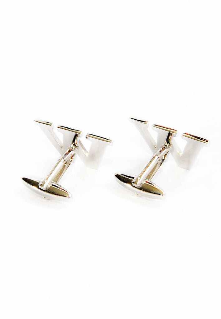 Monogram Alphabet Rhodium Plated Cufflinks - W