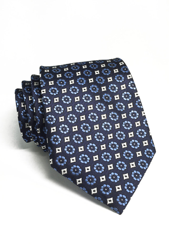 Pompon Series Blue Flower Design Polyester Tie