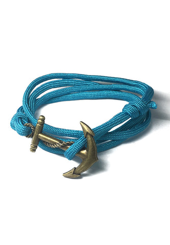Ballast Series Turquoise Blue Nylon Matt Gold Anchor Bracelet