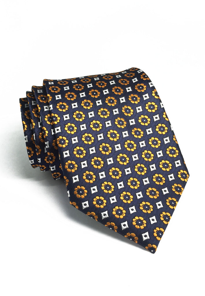 Pompon Series Orange Flower Design Polyester Tie