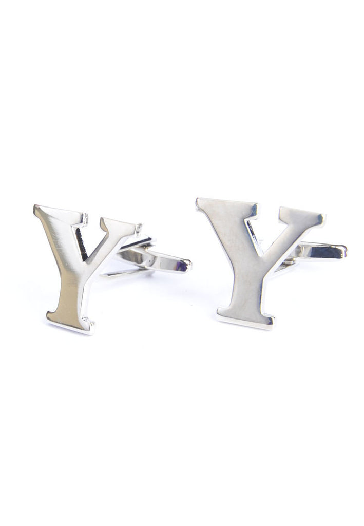 Monogram Alphabet Rhodium Plated Cufflinks - Y