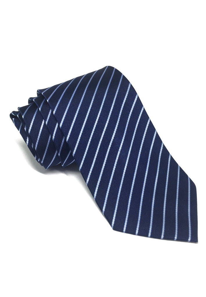Satiny Series Blue Stripes Silk Tie