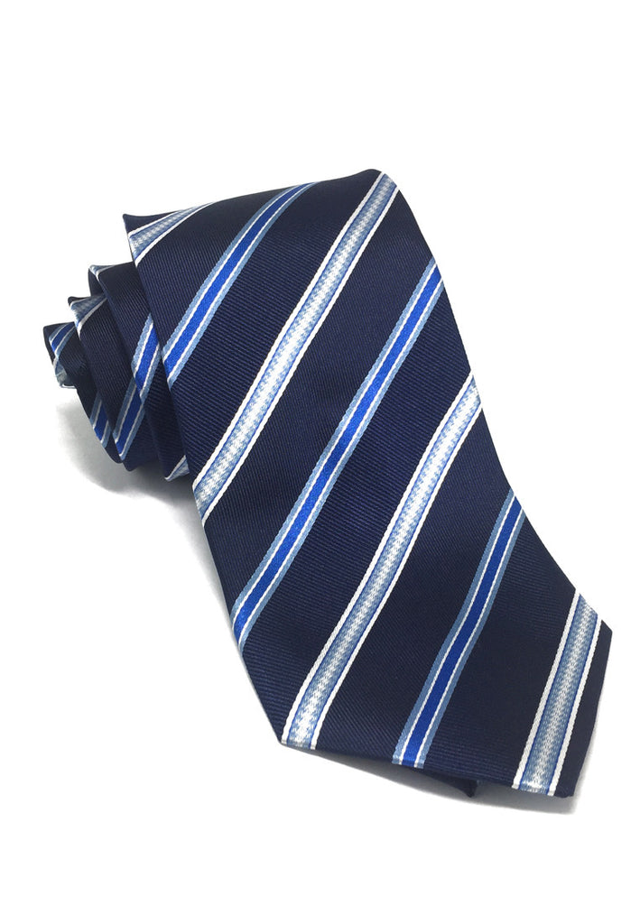 Satiny Series Stripes Navy Blue Silk Tie