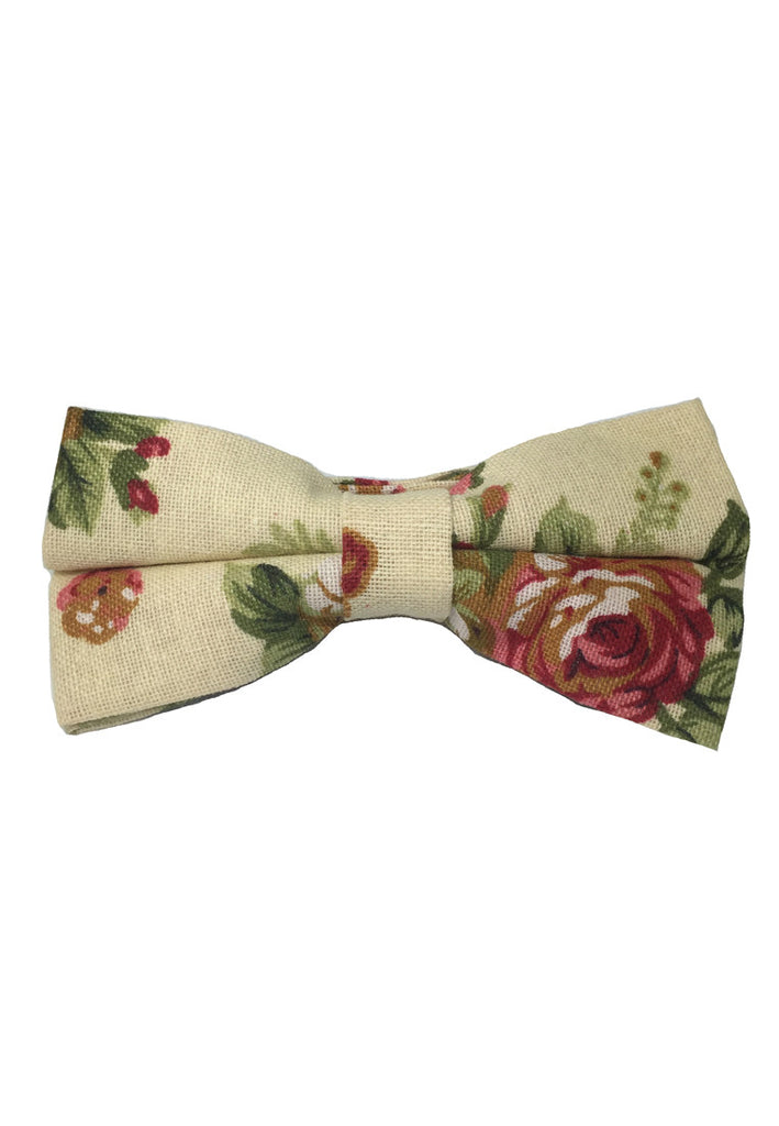 Blossom Series Floral Design Pearl White Cotton Pre-Tied Bow Tie
