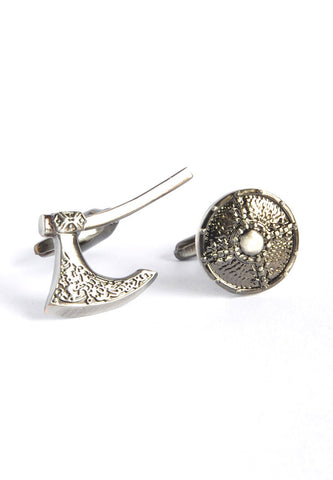 Antique Finish Viking Battle Axe & Shield Cufflinks