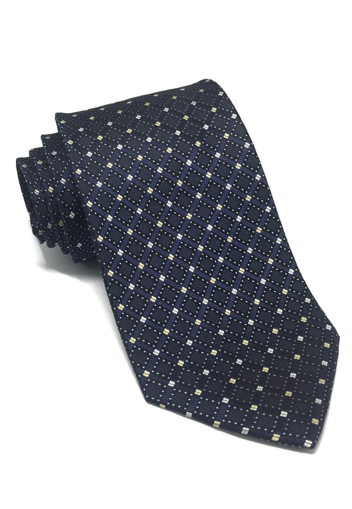 Satiny Series Small Squares Navy Blue Silk Tie