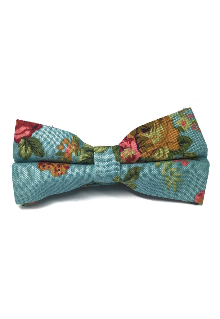 Blossom Series Floral Design Baby Blue Cotton Pre-Tied Bow Tie
