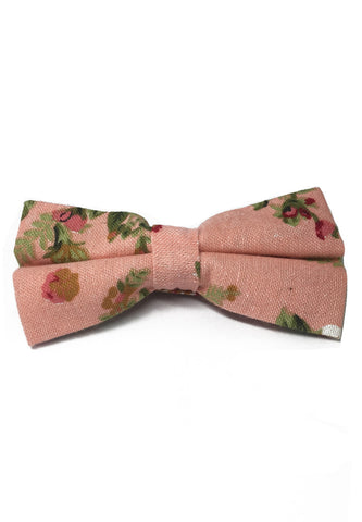 Blossom Series Floral Design Baby Pink Cotton Pre-Tied Bow Tie
