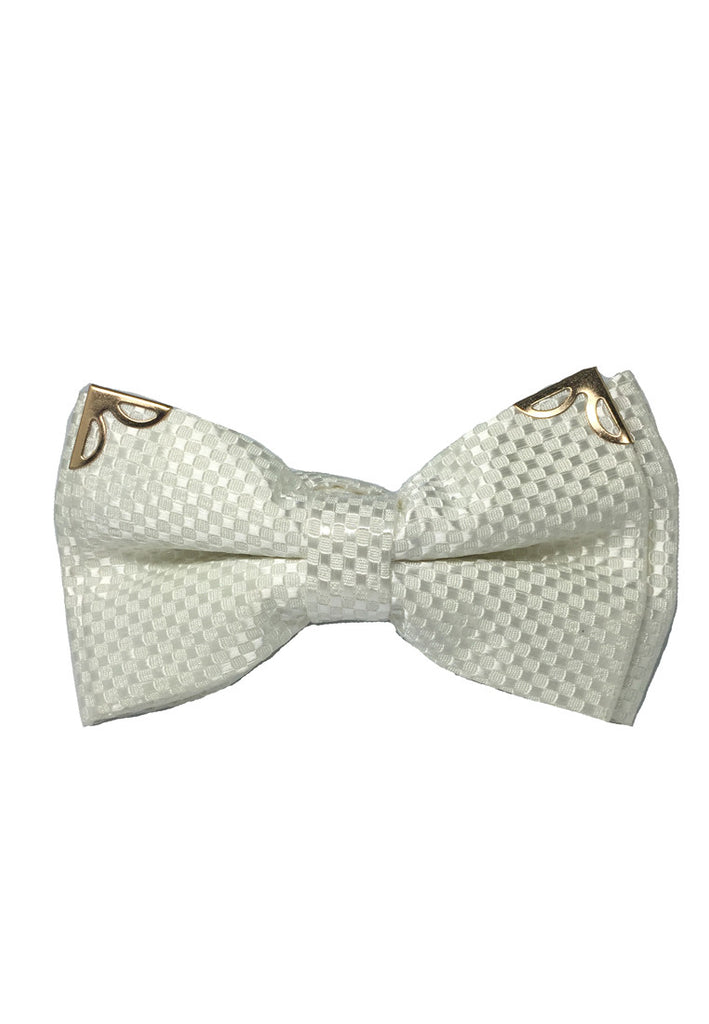 Modish Series Pearl White Patterned Polyester Pre-Tied Bow Tie