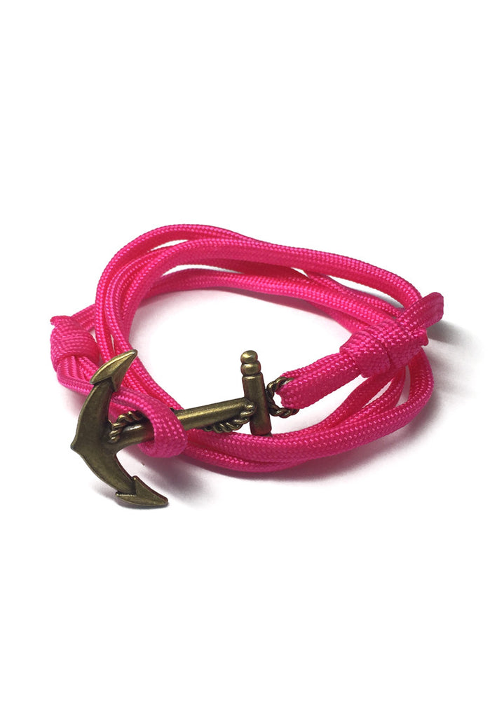 Ballast Series Bright Pink Nylon Matt Gold Anchor Bracelet