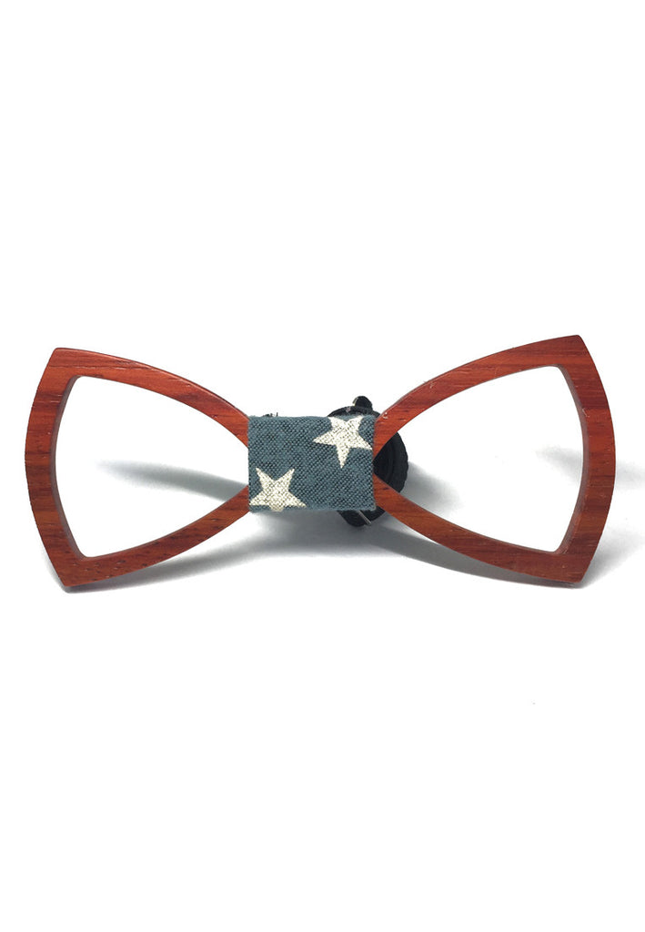 Hollow Grove Series Mahogany Wood Colour Bow Tie