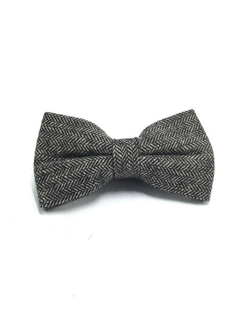 Dolly Series Black Patterned Wool Pre-tied Bow Tie