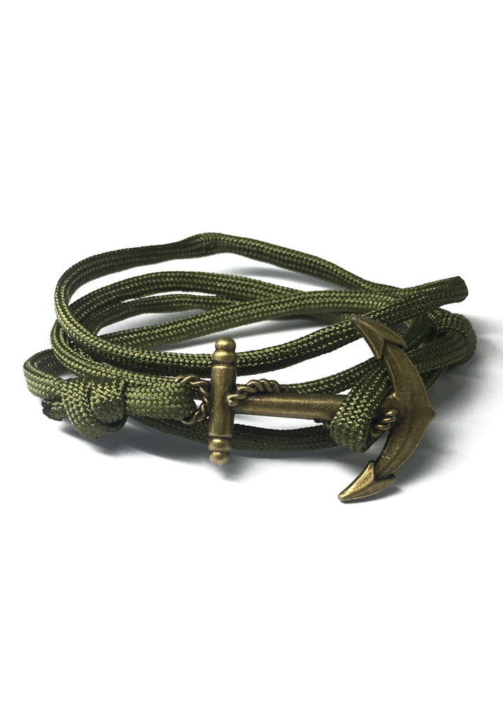 Ballast Series Army Green Nylon Matt Gold Anchor Bracelet