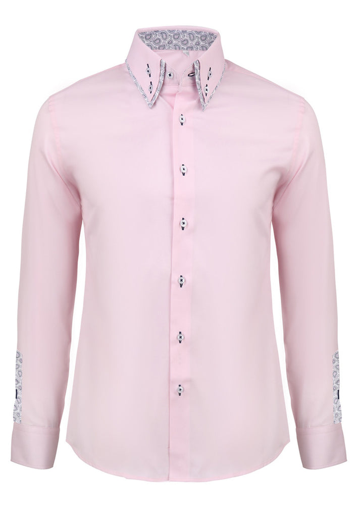 Rococo Series Plain Pink Shirt with Flowery Inners