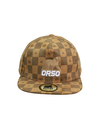 Orso Limited Edition Brown Checked Design Suede Cap
