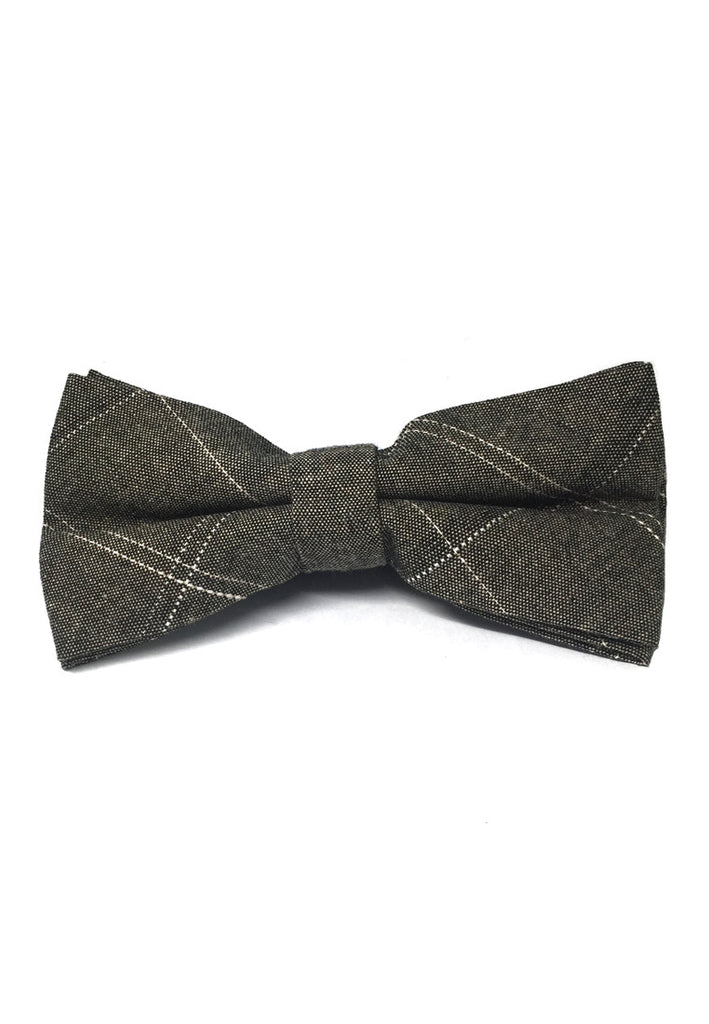 Folks Series Large Squares Brown Cotton Pre-Tied Bow Tie