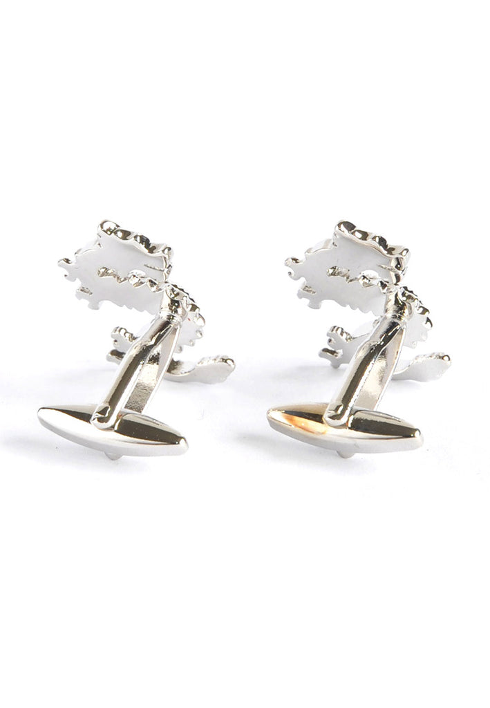 Rhodium Plated Lucky Dragon Cufflinks