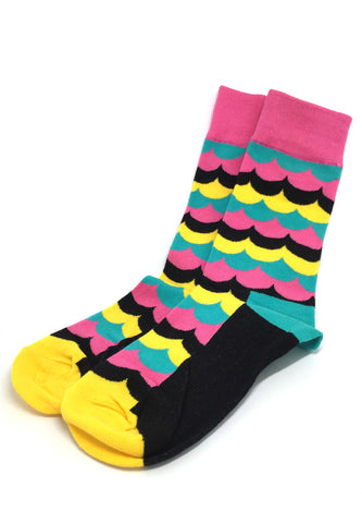 Billow Series Multi Colour Wave Design Black, Yellow and Pink Socks