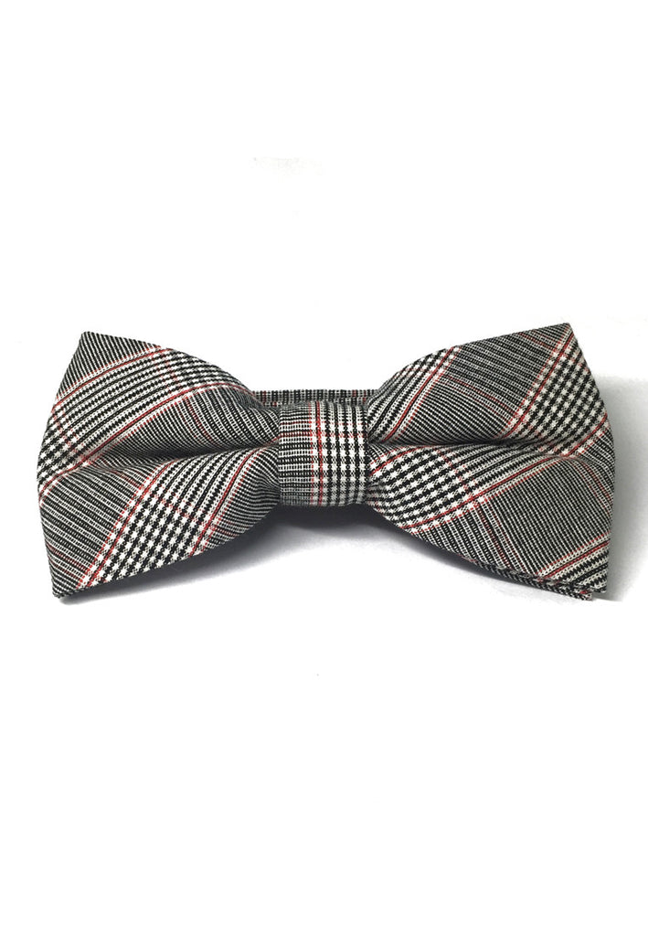 Folks Series Red Tartan Design Dark Grey Cotton Pre-Tied Bow Tie