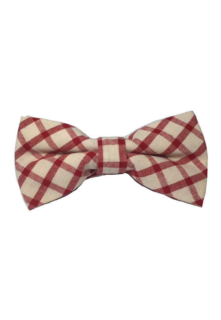 Folks Series Red Checked Design White Cotton Pre-Tied Bow Tie