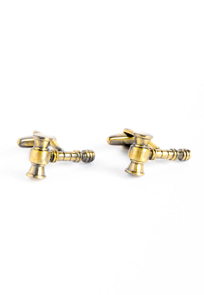 Satin Finish Golden Gavels Cufflinks