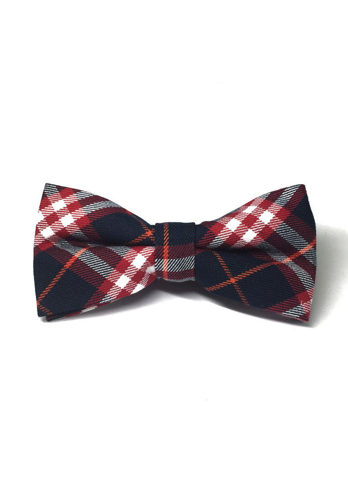 Folks Series Red and Navy Blue Tartan Design Cotton Pre-Tied Bow Tie