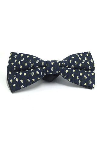 Blooming Series Navy Blue Floral Design Cotton Pre-tied Bow Tie