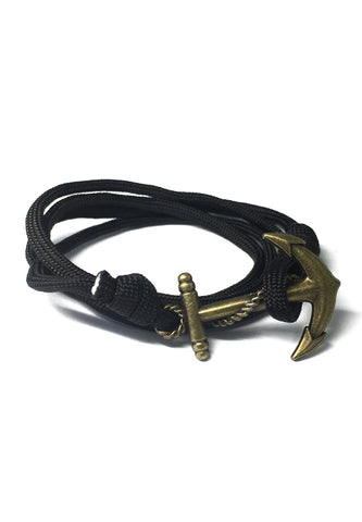 Ballast Series Black Nylon Matt Gold Anchor Bracelet