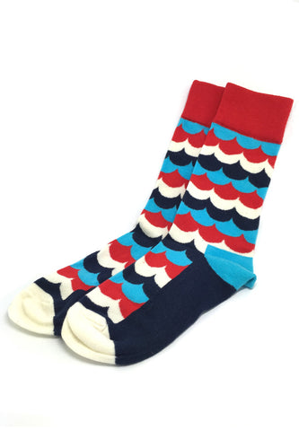 Billow Series Multi Colour Wave Design Navy Blue, White, Red and Baby Blue Socks