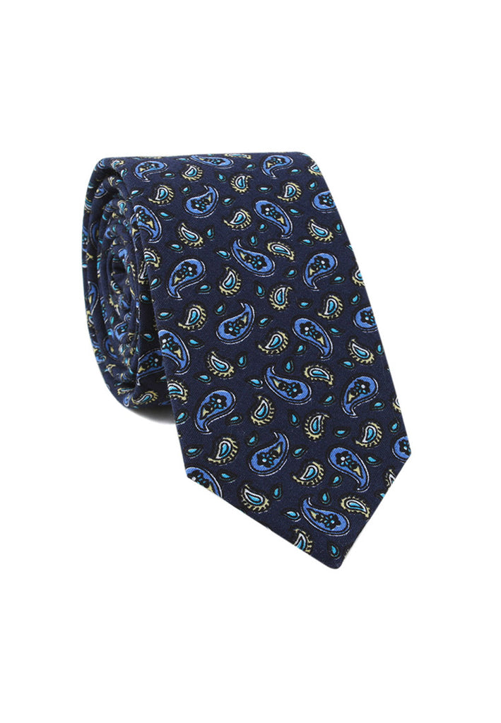 Brew Series Paisley Design Dark Blue Cotton Neck Tie
