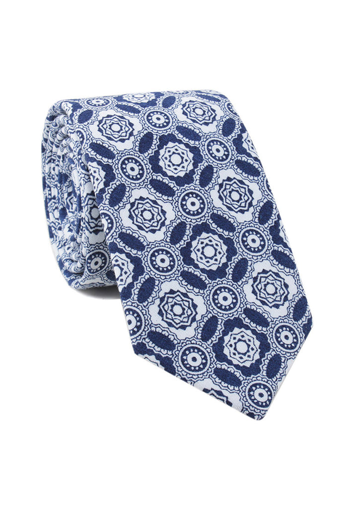 Brew Series Mosaic Design Blue & White Cotton Neck Tie