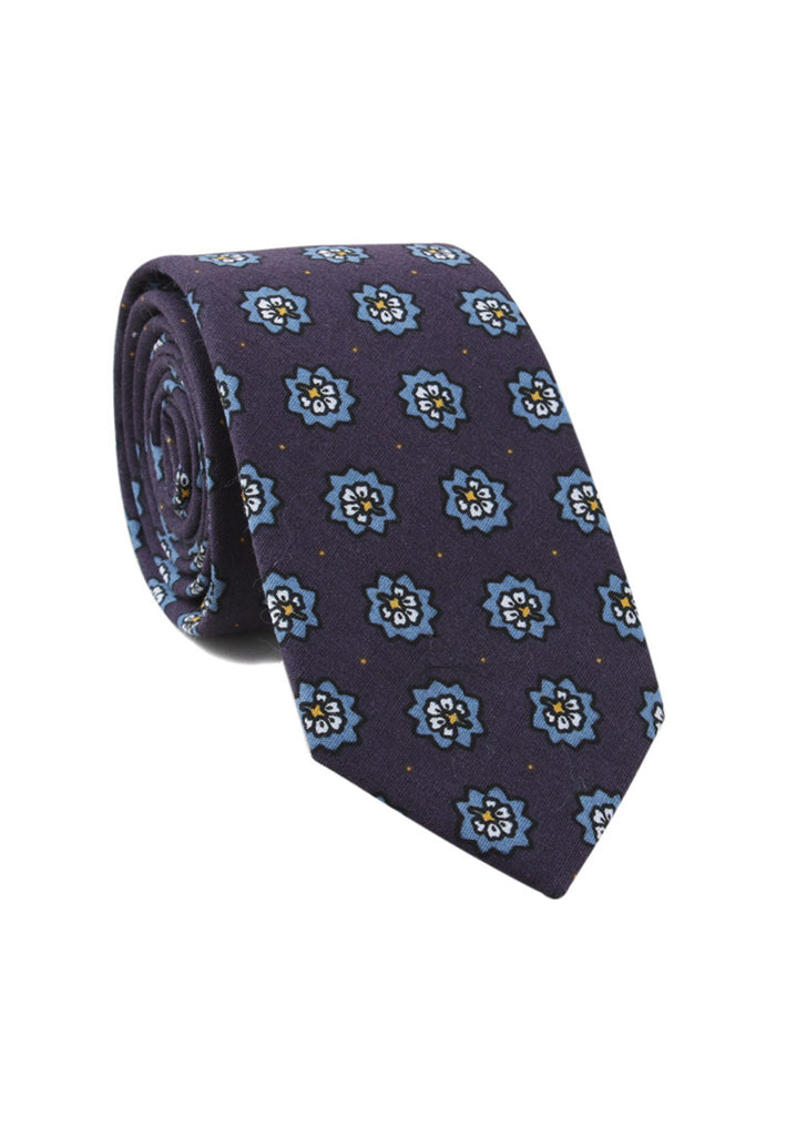 Brew Series Little Flower Design Blue Cotton Neck Tie