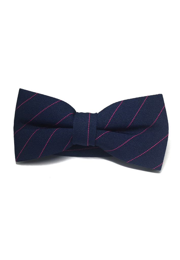 Bars Series Pink Stripes Navy Blue Cotton Pre-Tied Bow Tie