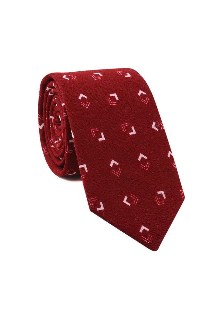 Brew Series Arrowhead Design Red & White Cotton Neck Tie
