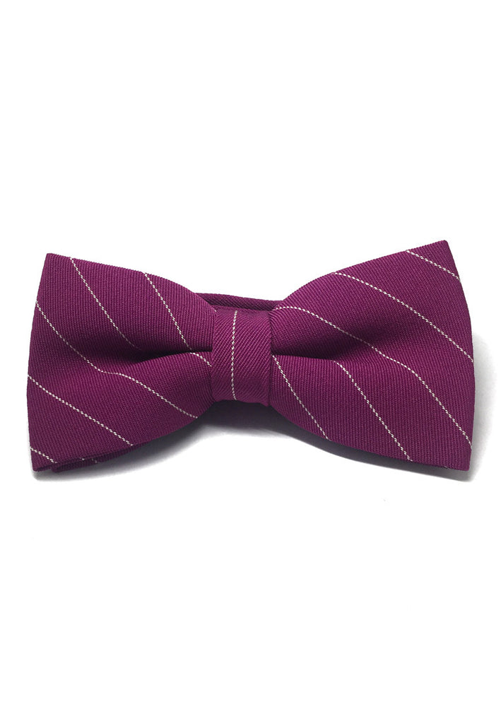Bars Series White Stripes Magenta Cotton Pre-Tied Bow Tie