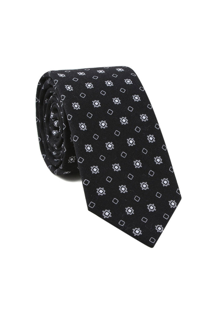 Brew Series Little Squares Design Black Cotton Neck Tie