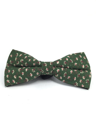 Blooming Series Green Floral Design Cotton Pre-tied Bow Tie