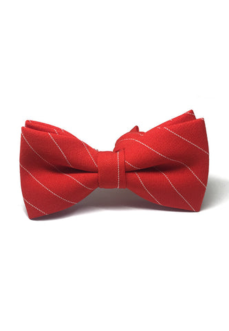 Bars Series White Stripes Bright Red Cotton Pre-Tied Bow Tie
