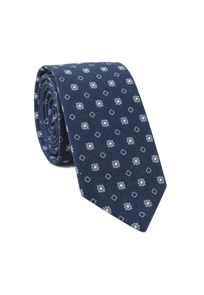 Brew Series Little Squares Design Blue Cotton Neck Tie