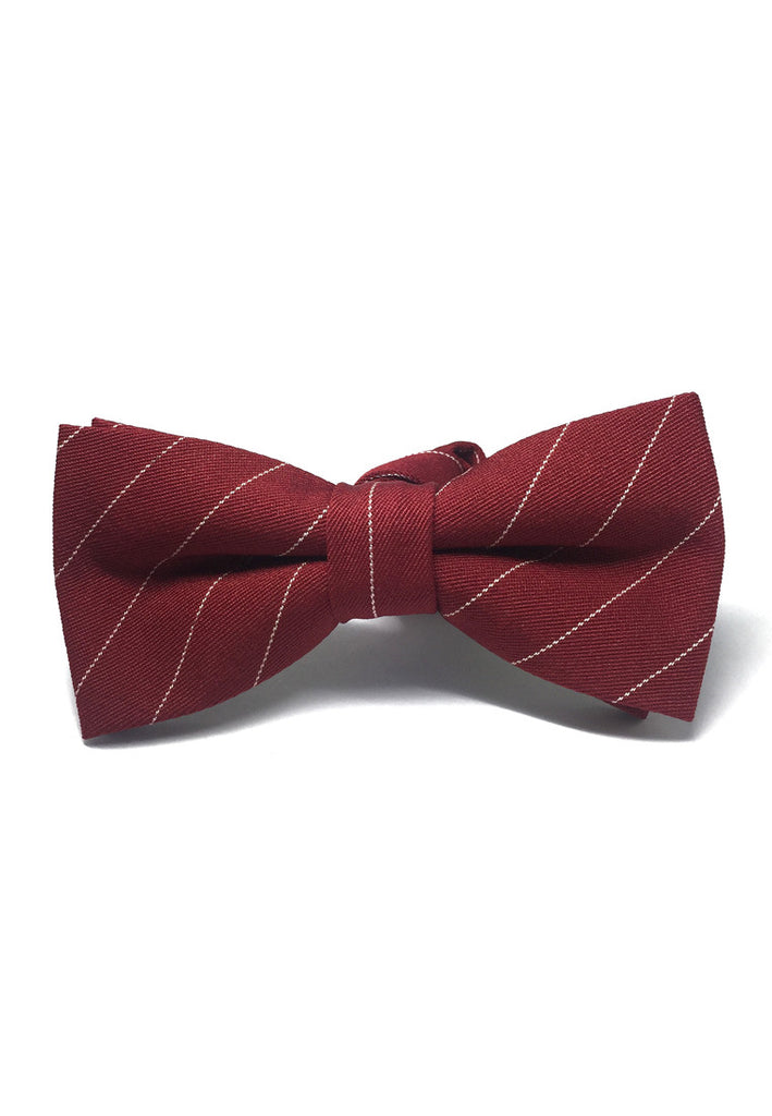 Bars Series White Stripes Red Cotton Pre-Tied Bow Tie