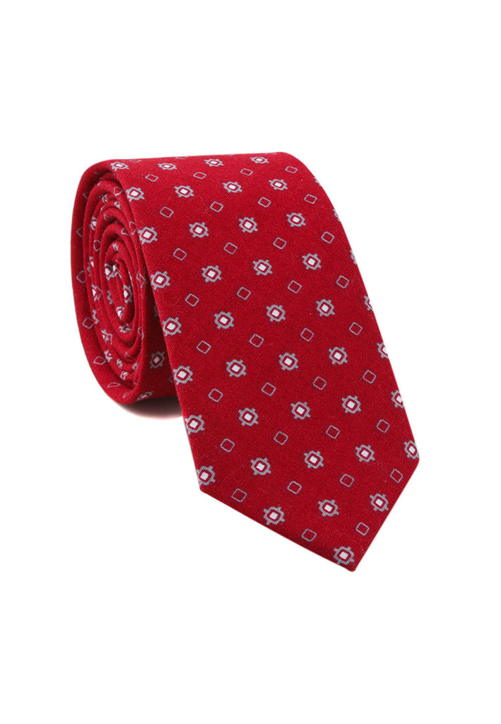 Brew Series Little Squares Design Red Cotton Neck Tie