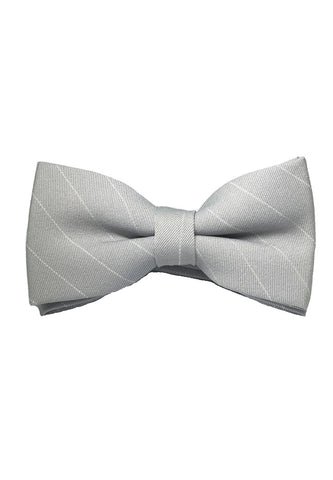 Bars Series White Stripes Silver Cotton Pre-Tied Bow Tie