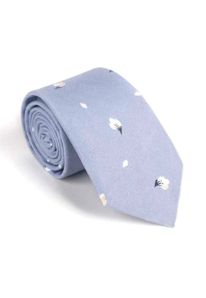 Bud Series Flower Petals Design Grey Neck Tie