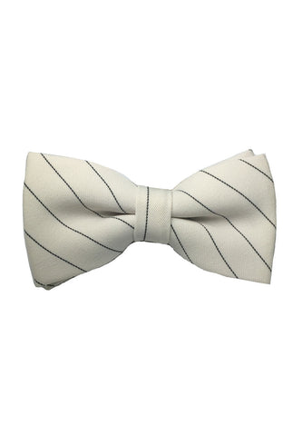 Bars Series Black Stripes White Cotton Pre-Tied Bow Tie
