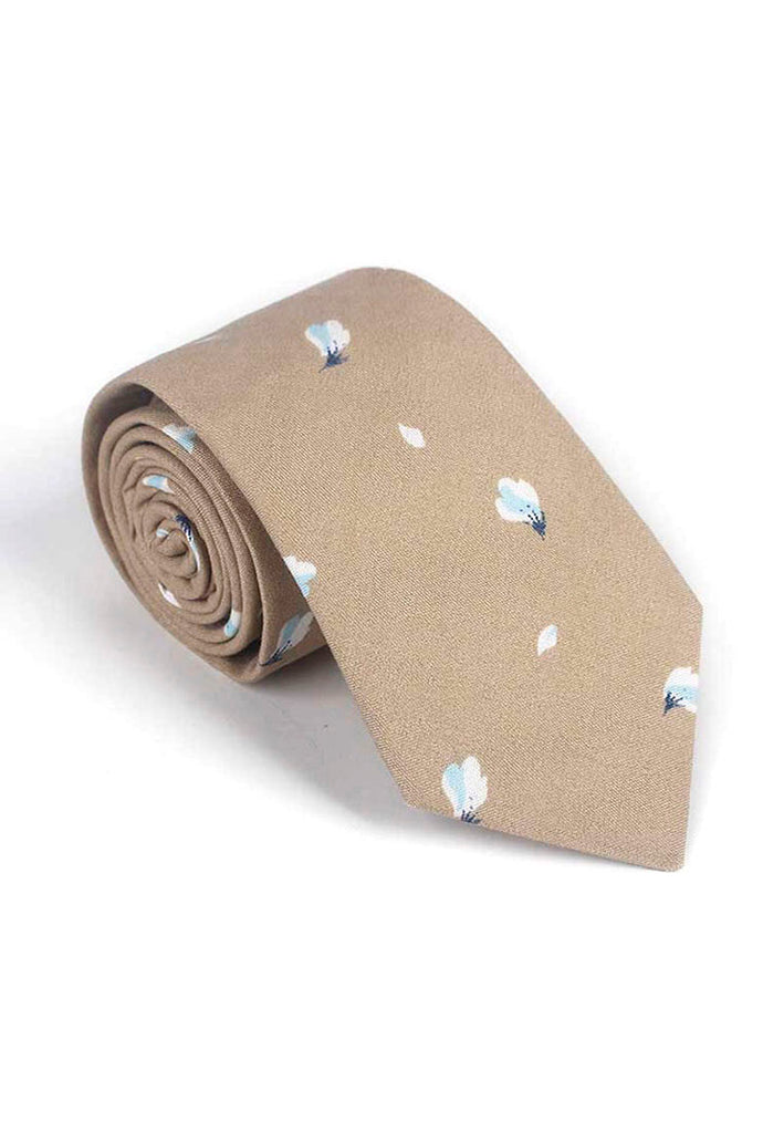 Bud Series Flower Petals Design Brown Neck Tie