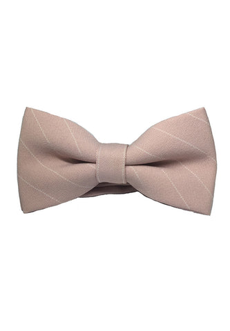 Bars Series White Stripes Pale Pink Cotton Pre-Tied Bow Tie